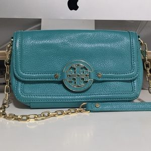 Tory Burch Amanda Mini Chain Purse (Turquoise)